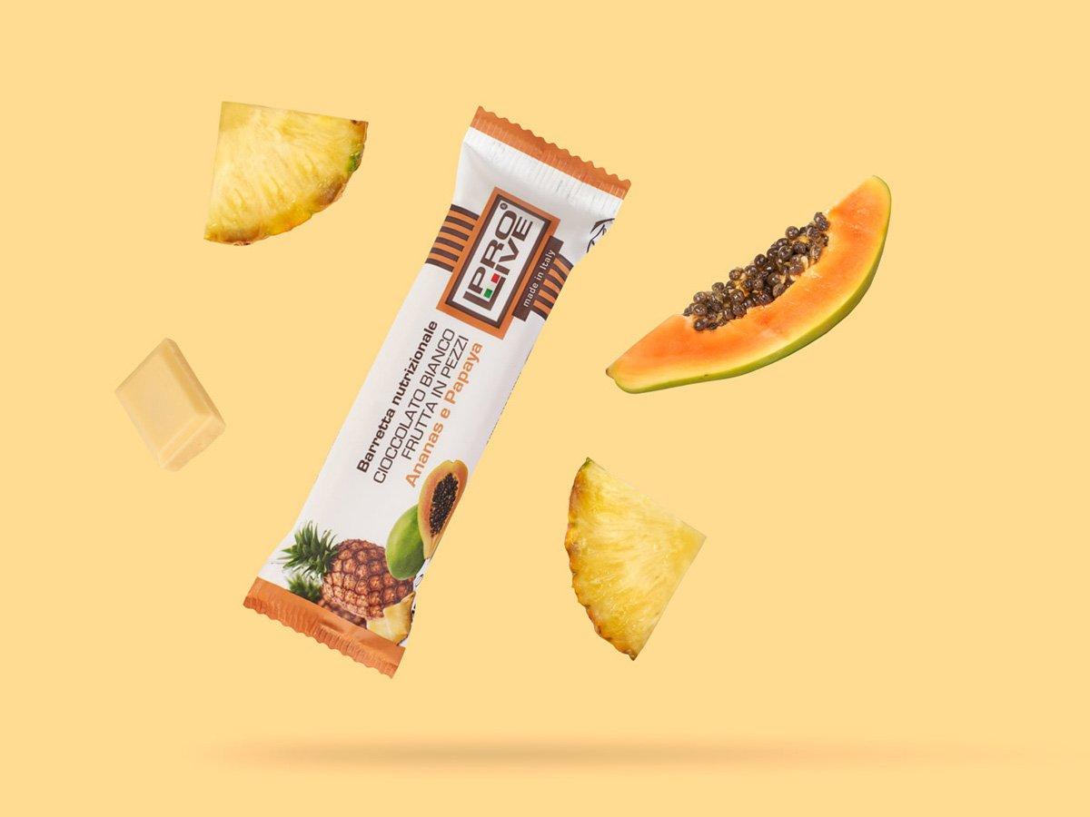 prolive barretta nutrizionale proteica cioccolato bianco ananas papaya
