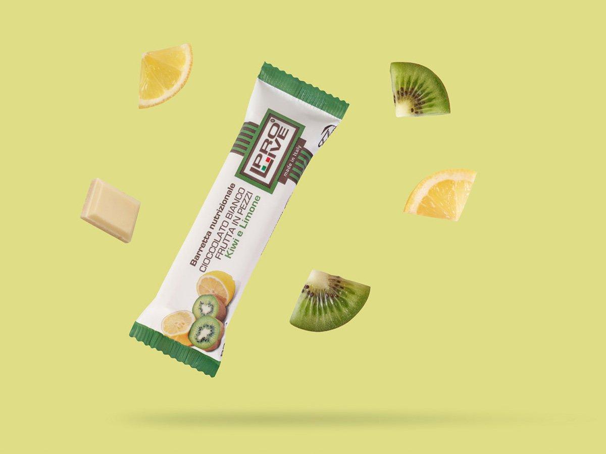 prolive barretta nutrizionale proteica cioccolato bianco kiwi limone
