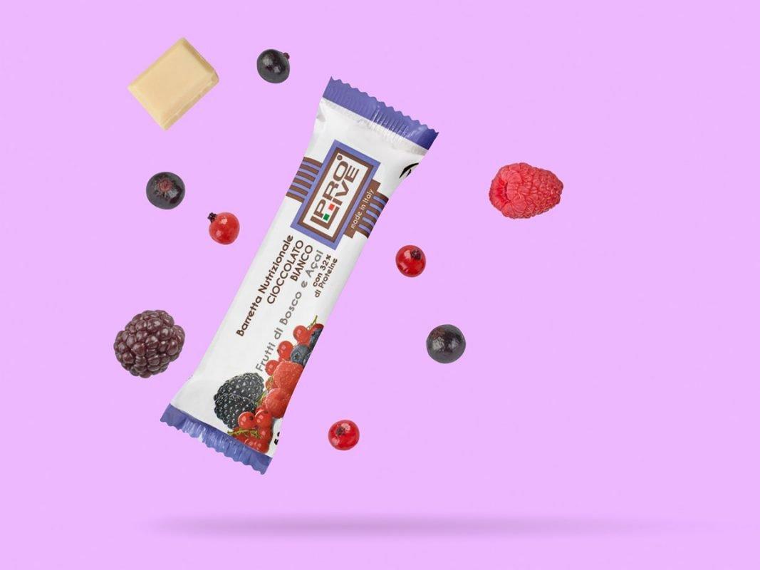 ProLive barretta nutrizionale proteica cioccolato bianco frutti di bosco e acai