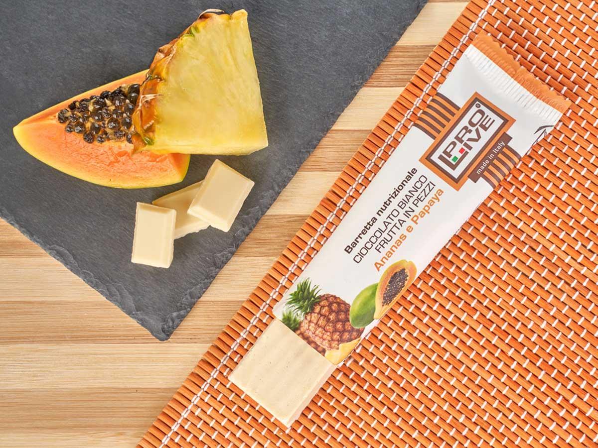 prolive barretta proteica cioccolato bianco ananas papaya