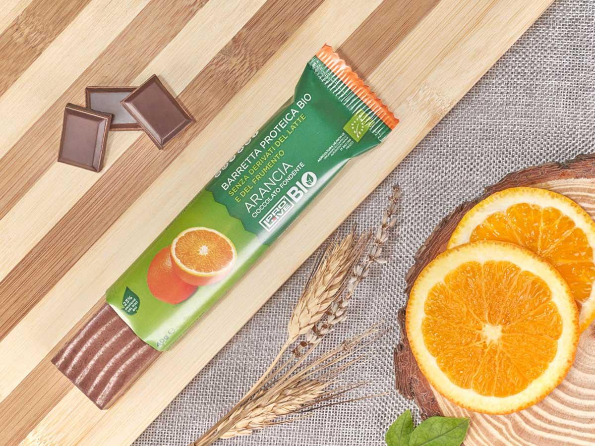 prolive bio barretta biologica cioccolato fondente arancia