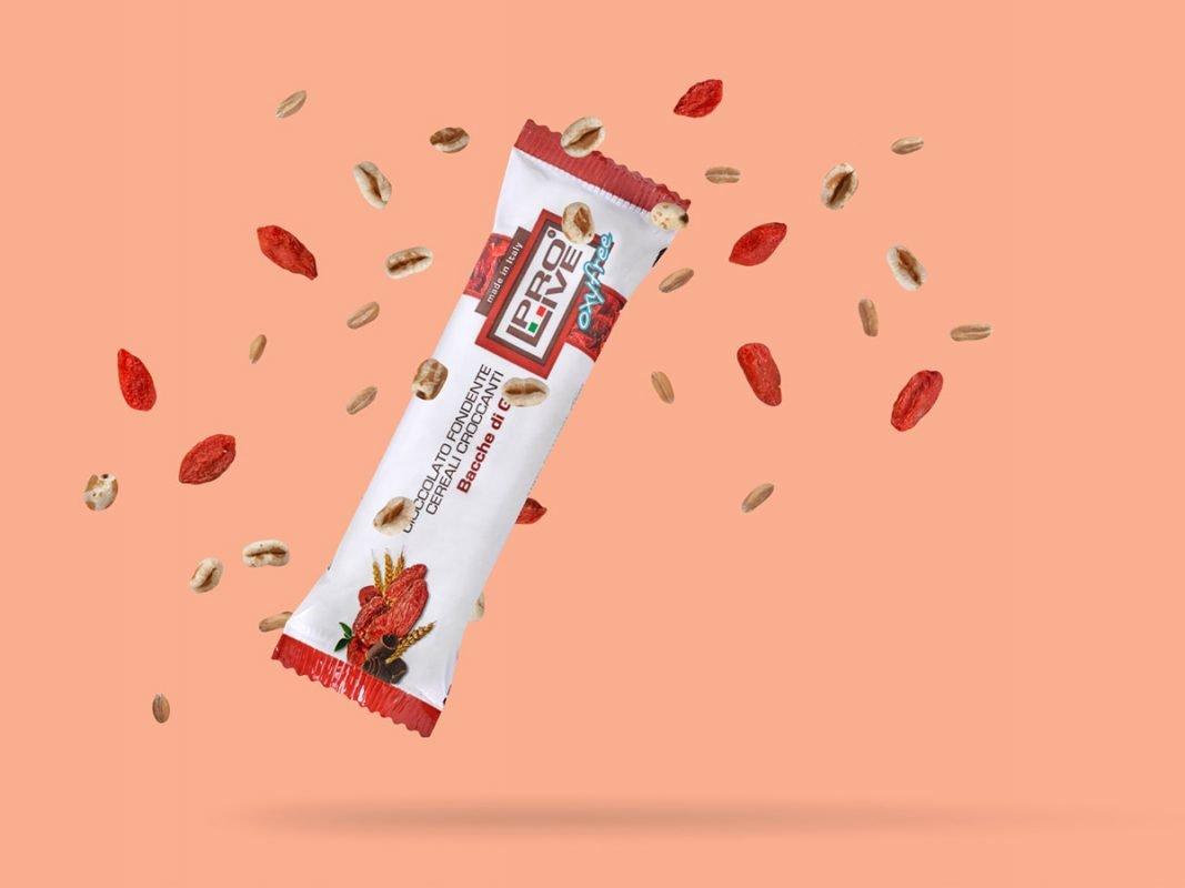 Prolive Oxyfree barretta snack energetica cioccolato bacche goji