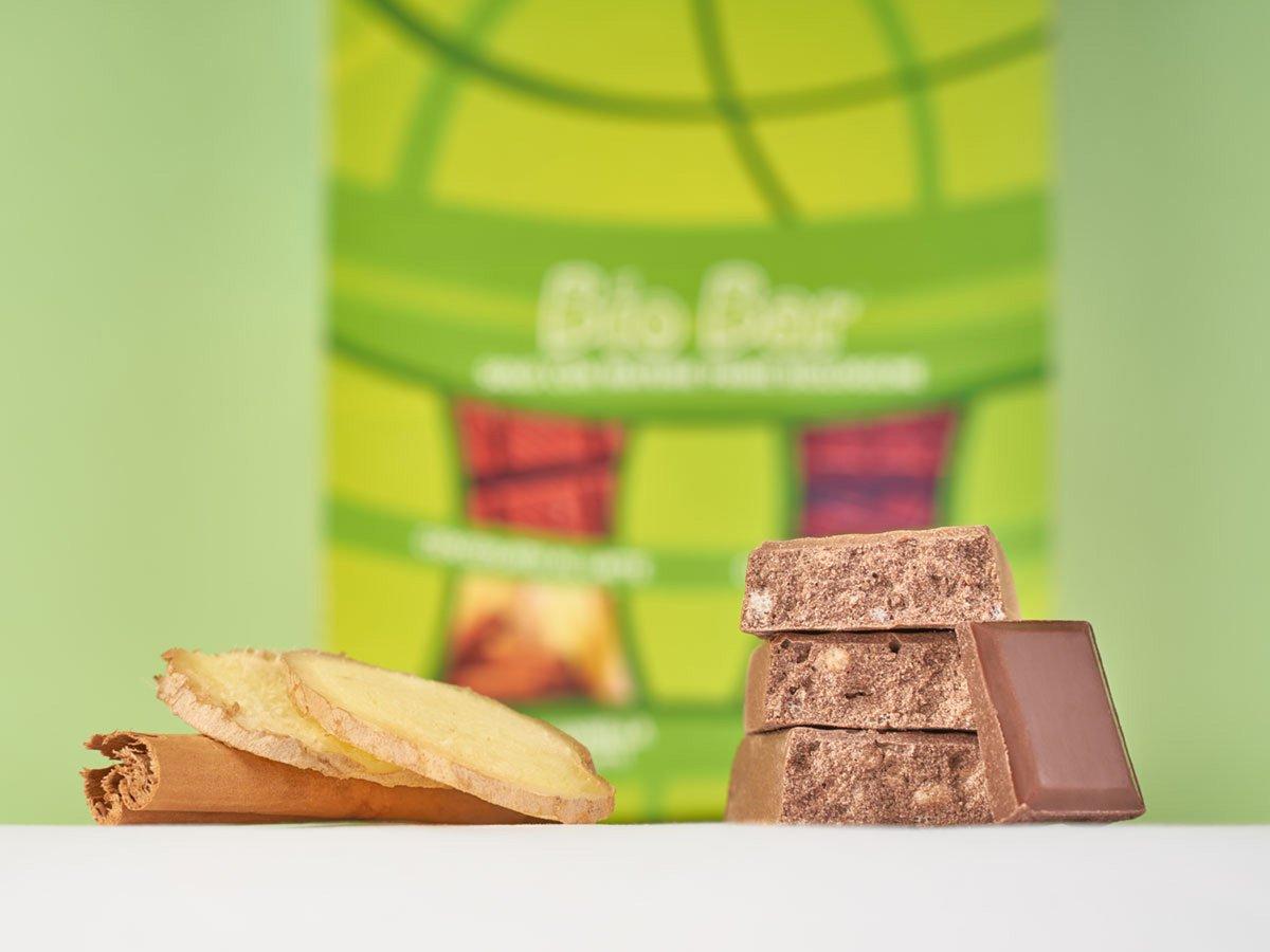 Biobar barretta biologica cioccolato latte zenzero cannella