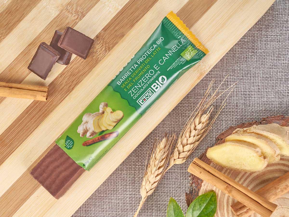Prolive Bio barretta proteica cioccolato fondente zenzero cannella