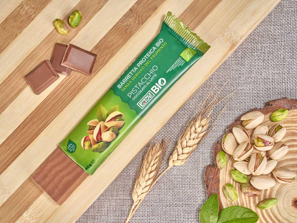 Prolive Bio barretta proteica cioccolato latte pistacchio