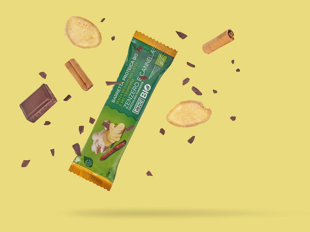 Prolive Bio barretta proteica biologica cioccolato fondente zenzero cannella