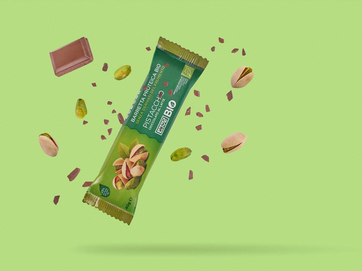 Prolive Bio barretta proteica biologica cioccolato latte pistacchio