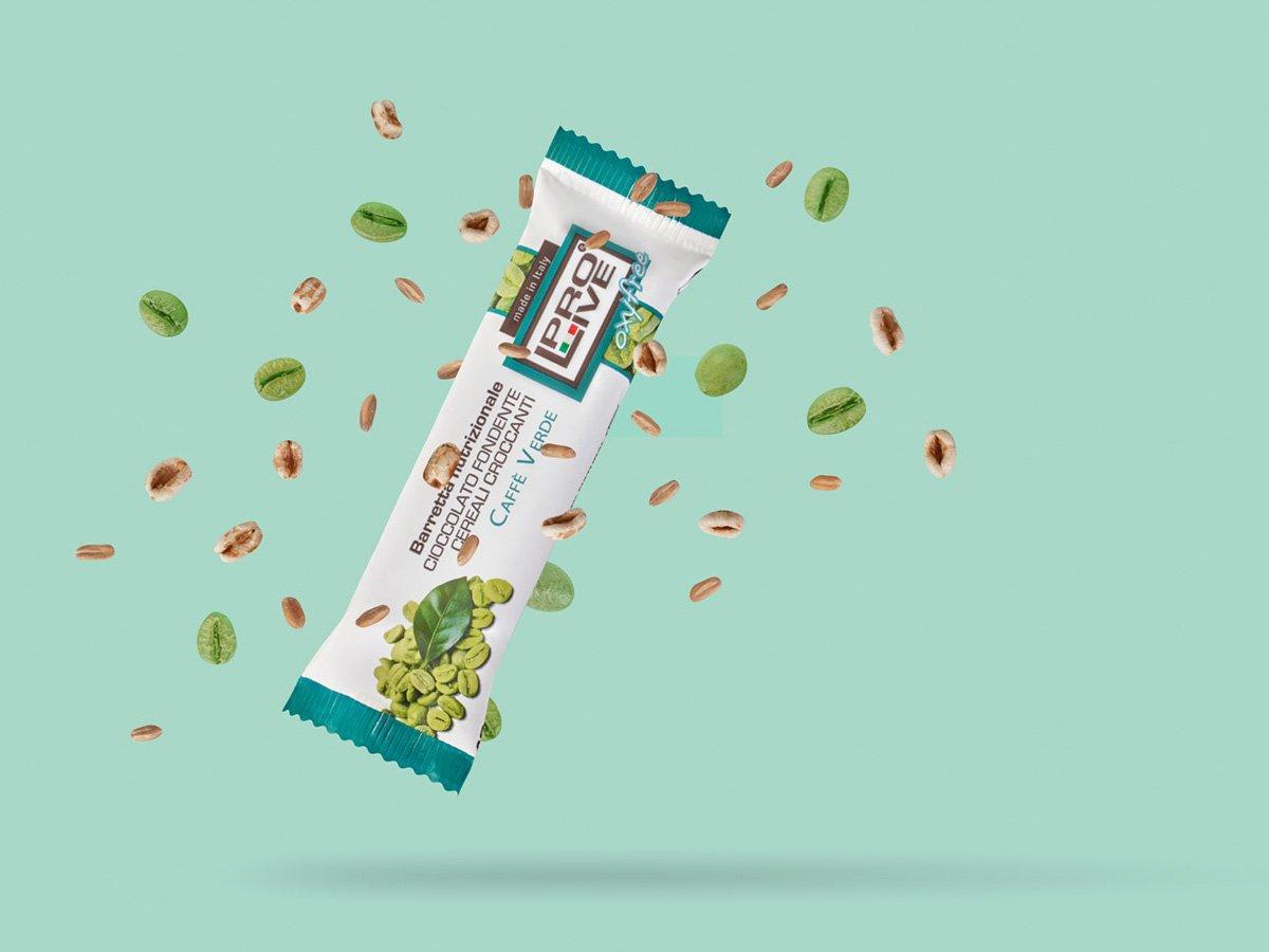 Prolive Oxyfree barretta energetica snack cioccolato fondente caffe verde