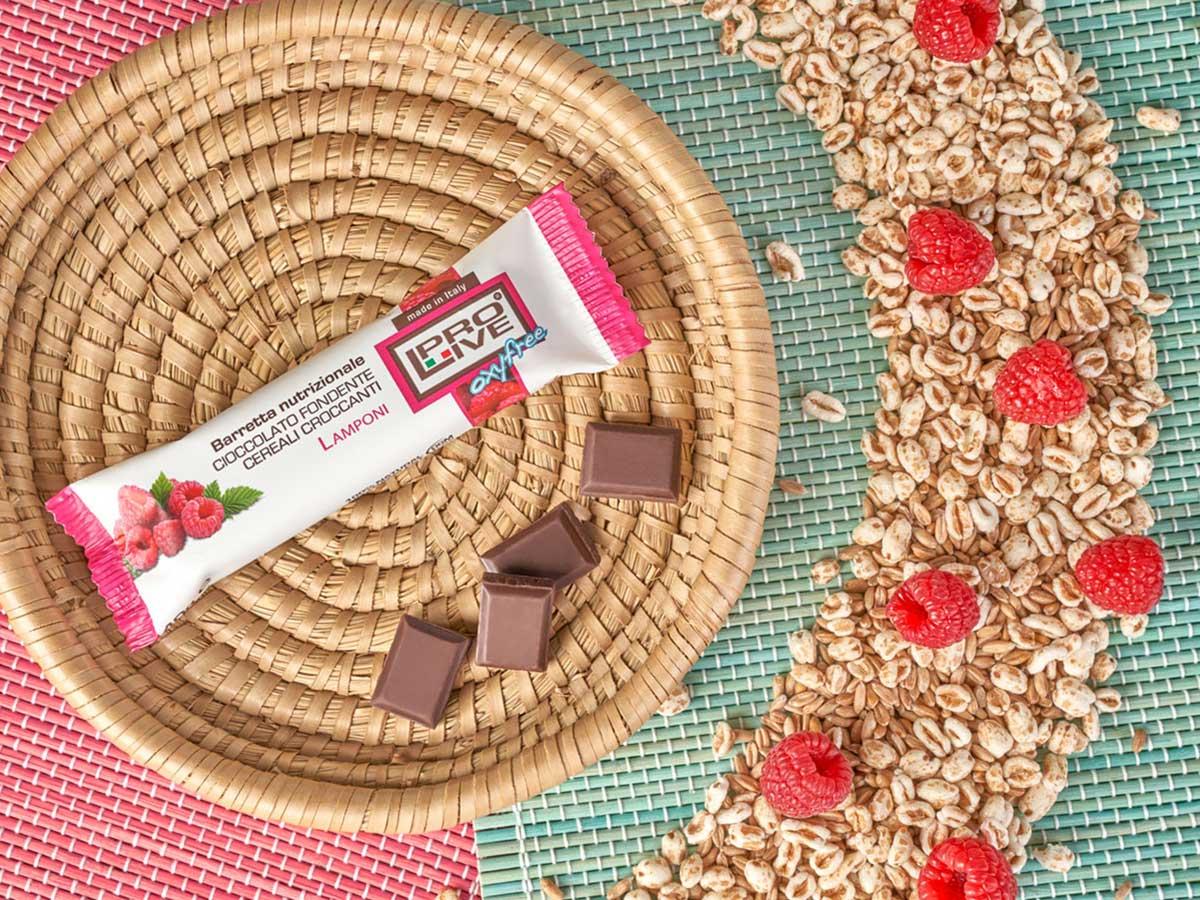 Prolive Oxyfree barretta energetica cioccolato fondente lamponi