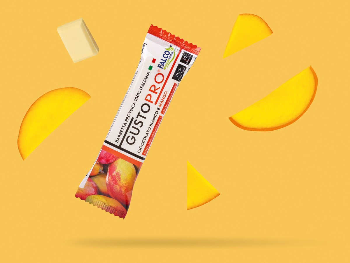 Gusto Pro Barretta Proteica cioccolato bianco e mango