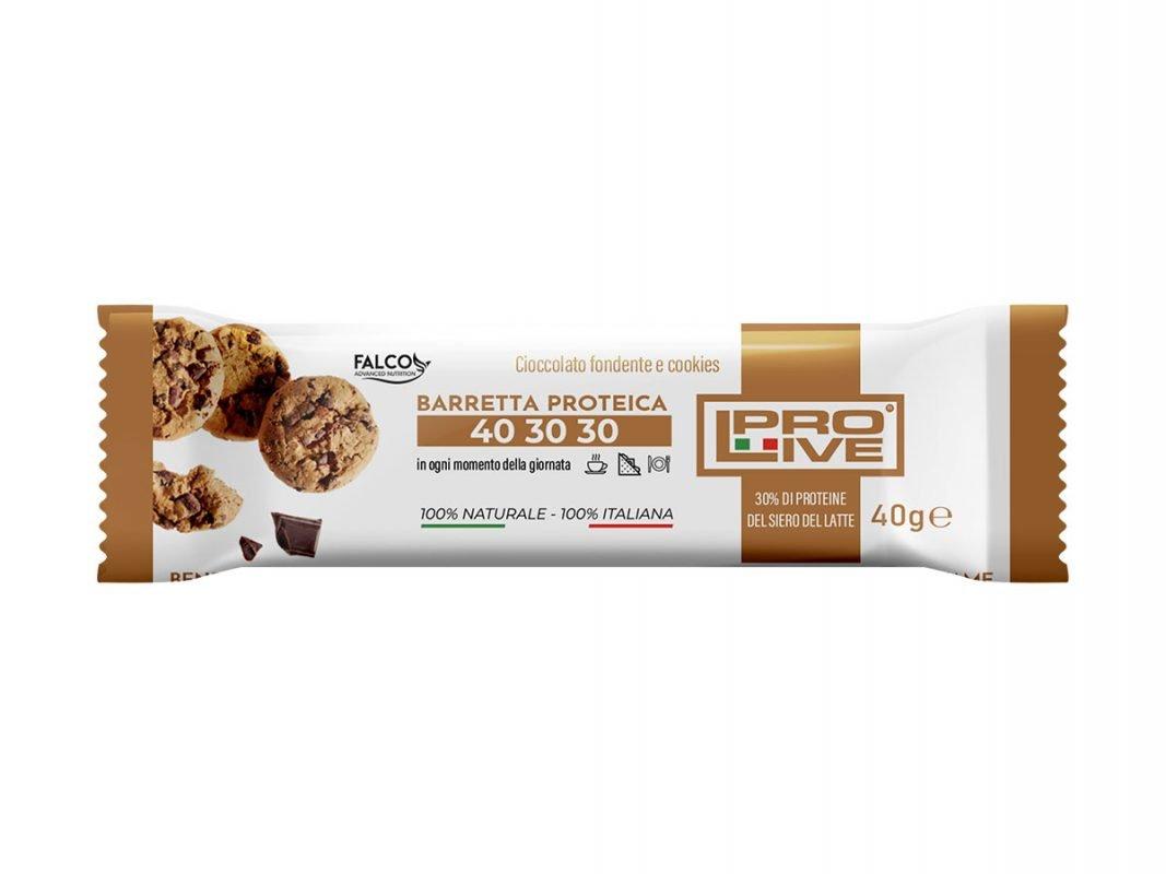 Barretta ad alto contenuto proteico con finissimo cioccolato fondente e cookies da 40 gr