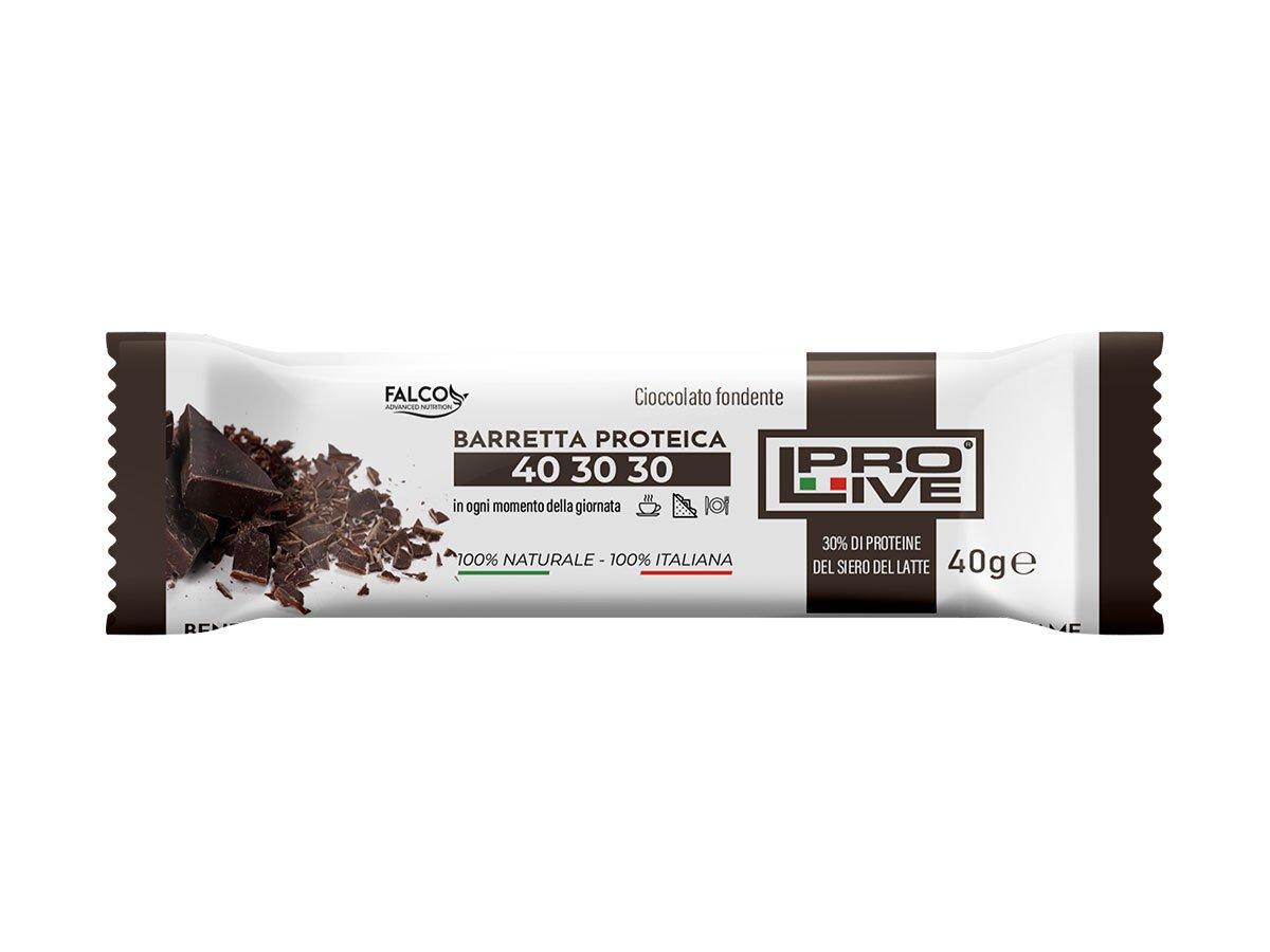 Barretta ad alto contenuto proteico con finissimo cioccolato fondente da 40 gr